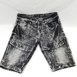 Men's M. Society 36 Denim Shorts Black Acid Wash
